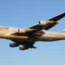 Boeing B-747-400 Izraelskich Linii Lotniczych ElAl nr. rej. 4X-ELH na sciezce znizania RWY33.uj. fin.
