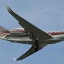 Cessna 750 Citation X Prywatna nr. rej. M-ARCH na sciezce znizania RWY11.